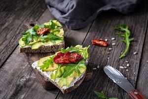 Healthy green toast for breakfast