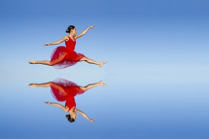Ballet dancer in red dress