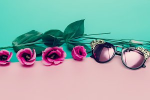 Luxury Fashion Sunglasses and Roses.