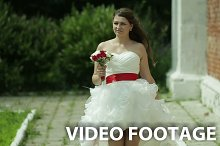 Bride in the short wedding dress