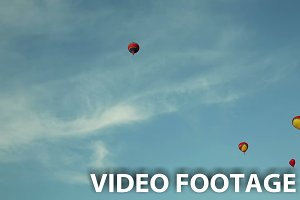 Lot hot air balloons fly blue sky