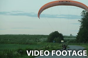 Paramotor takes off