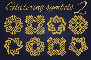 Golden glittering symbols pack 2
