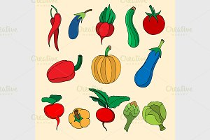Set of hand drawn vegetables