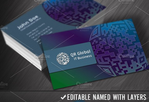 Qr Code Global It Business Cards Business Card Templates