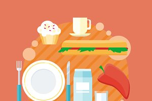 Beverages and Food Design Flat