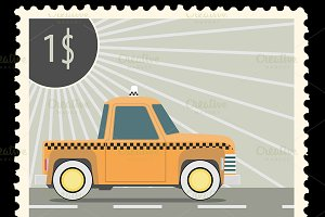Postage stamp with retro taxi