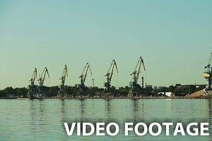 Gantry cranes at the quay.