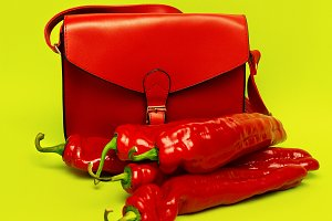 Womans Bag Focus on Red