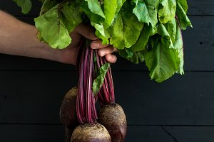 Bunch of fresh garden beetroot kept