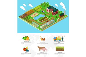 3d Icon Flat Farm Agriculture