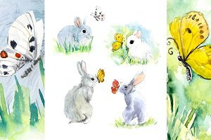 Rabbits with butterflies.