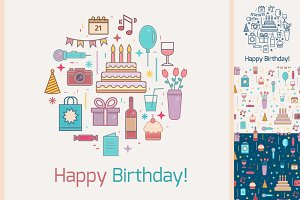 Happy Birthday line set