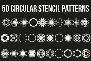 Set of 50 Circular Stencil Patterns