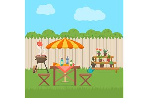 Barbecue grill on backyard