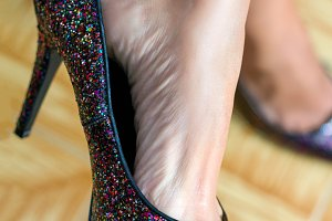 Woman foot in beautiful shoe