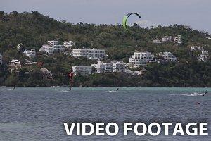 Kitesurfing on island