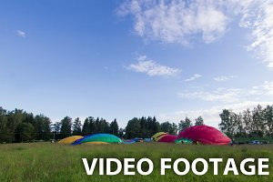 Inflating a hot air balloons