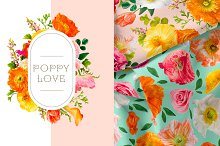 Poppy Love Floral Clip Art by  in Graphics
