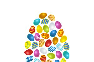 Colourful easter eggs in egg shape