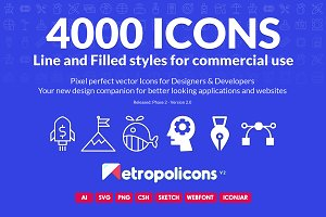 4000 Line and Filled Icons Bundle