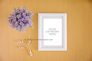 White Frame mock up Print Display