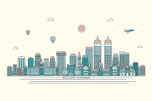 Mumbai line art skyline