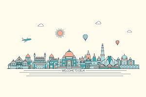 Delhi line art skyline