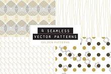 Golden Seamless Pattern set of 4