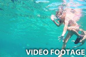 Young girl scuba diver
