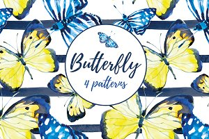 Butterfly. 4 patterns.