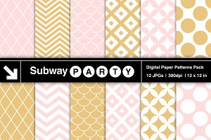 Blush Pink & Gold Retro Geo Papers