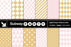 Blush Pink & Gold Geometric Papers