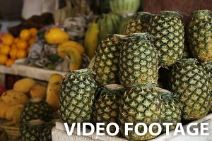 Fresh pineapples in market