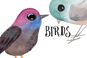 Watercolor Cute birds