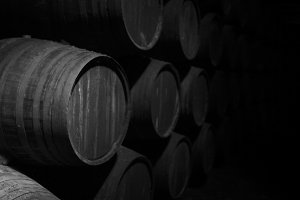 Wine barrels dark