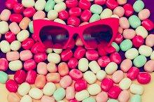 Ladys Sunglasses on sweet backround