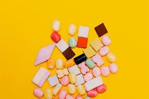Mix Sweets on yeiiow background