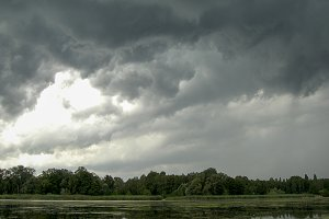 Stormy skies over lake