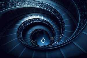 Long spiral, winding stairs.