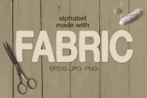 Alphabet made with fabric
