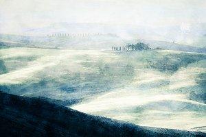 Painting of Tuscany at sunrise