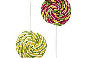 Two opposite lollipops