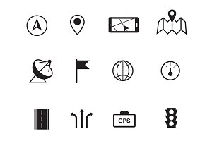 12 GPS and Navigation Icons