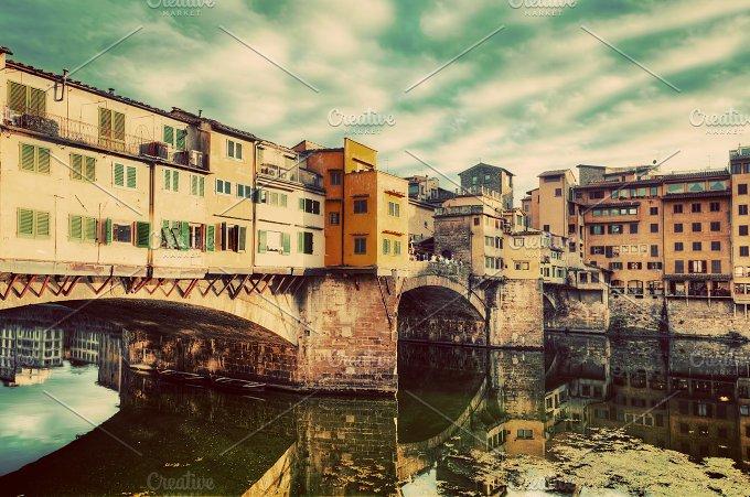 Ponte Vecchio, Florence. Vintage. - Architecture