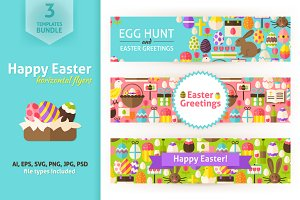 Happy Easter Horizontal Banners