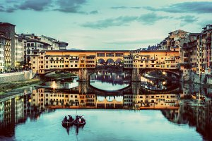 Ponte Vecchio at night. Florence.