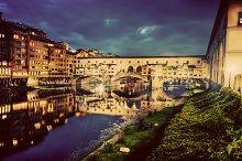 Ponte Vecchio at night. Florence.