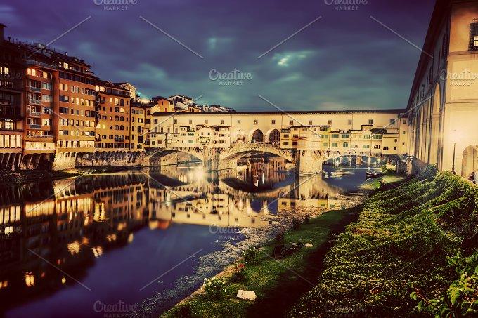 Ponte Vecchio at night. Florence. - Architecture