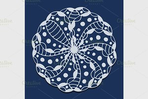 vector circle floral ornament.